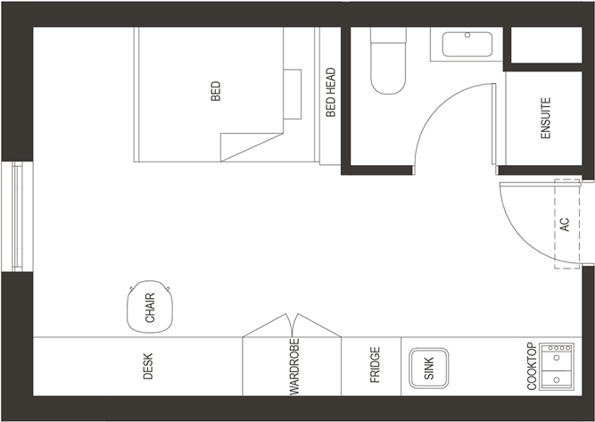floorplan of our affordable twin loft bed (2 beds) studio student housing apartment in adelaide