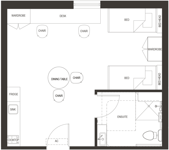 floorplan of our deluxe twin sharing (2 beds) student housing studio apartment in adelaide