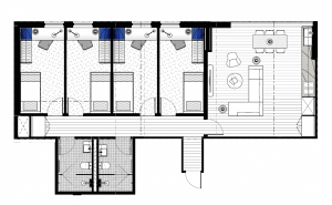 floorplan of our 4 bedroom student housing apartment in melbourne