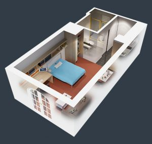 floorplan of our 1 bedroom suite student housing apartment in melbourne