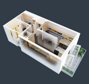 floorplan of our 2 bedroom with balcony student housing apartment in melbourne