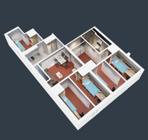 floorplan of our 5 bedroom student housing apartment in melbourne