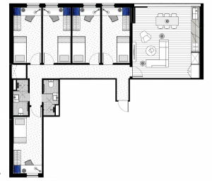 floorplan of our deluxe 5 bedroom student housing apartment in melbourne