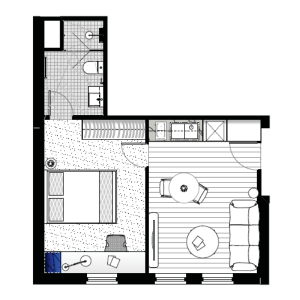floorplan of our luxury 1 bedroom student housing apartment in melbourne