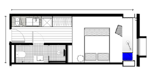 floorplan of our deluxe 1 bedroom student housing apartment in melbourne