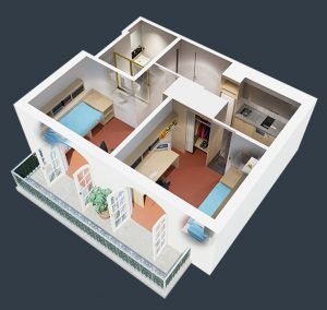 floorplan of our large 2 bedroom student housing apartment in melbourne